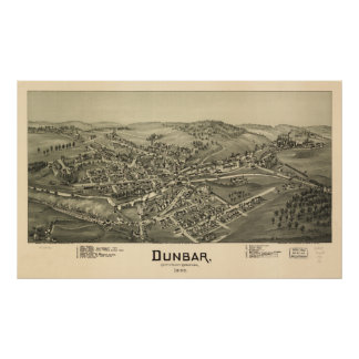 Dunbar Pennsylvania 1900 Antique Panoramic Map Poster