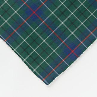 Duncan Clan Green and Royal Blue Tartan Fleece Blanket