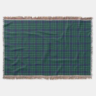 Duncan Clan Tartan Green and Blue Plaid Throw Blanket