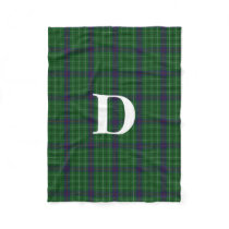 Duncan Clan Tartan Plaid Monogram Fleece Blanket