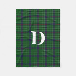Duncan Clan Tartan Plaid Monogram Fleece Blanket