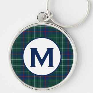 Duncan Family Tartan Green and Blue Plaid Monogram Silver-Colored Round Keychain