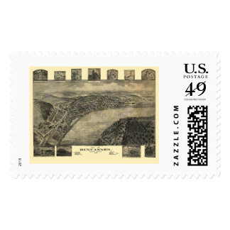 Duncannon, mapa panorámico del PA - 1903 Sello Postal