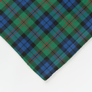 Dundas Clan Bright Green and Blue Tartan Fleece Blanket