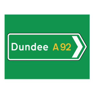 Dundee, señal de tráfico BRITÁNICA Tarjeta Postal