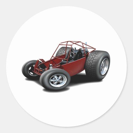 Dune Buggy maroon Classic Round Sticker