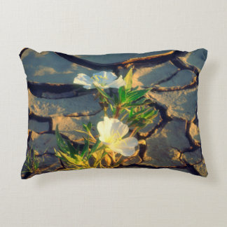 Dune Primrose growing out of Cracked Mud Decorative Pillow