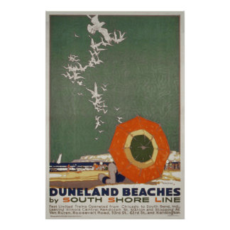 Duneland Beaches Vintage Travel Poster