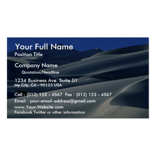 Dunes at dusk Double-Sided standard business cards (Pack of 100)