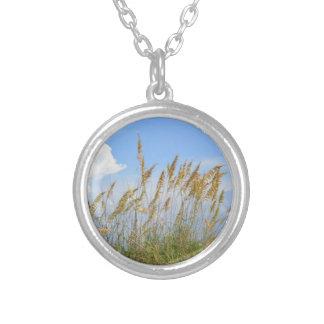 dunes on the beach round pendant necklace