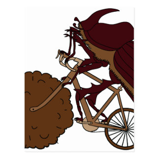 Dung Beetle Riding Bike With Dung Wheel Postcard