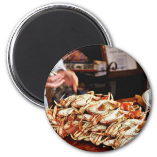 Dungeness Crab At Fishermans Wharf In San Francisc 2 Inch Round Magnet