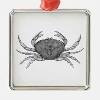 Dungeness Crab Logo (line art) Square Metal Christmas Ornament
