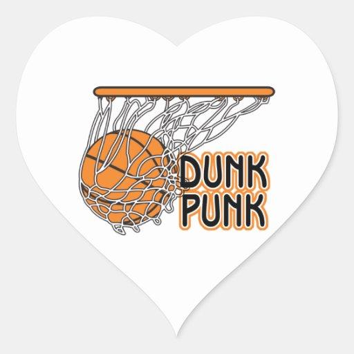 dunk punk cool basketball design heart sticker