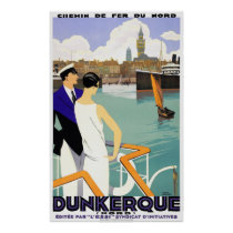 Dunkerque France Vintage Travel Poster Restored