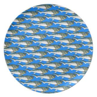 Dunkleosteus pattern in blue dinner plate