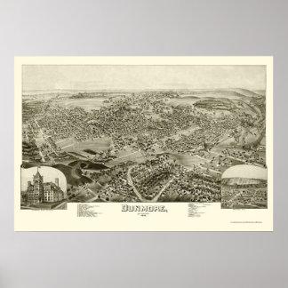 Dunmore, mapa panorámico del PA - 1892 Impresiones