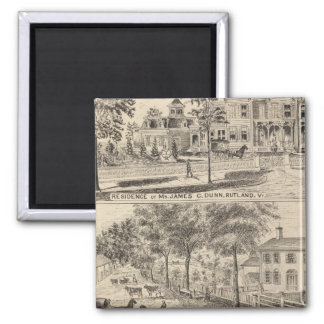 Dunn, Burditt and Benedict residences in Rutland 2 Inch Square Magnet