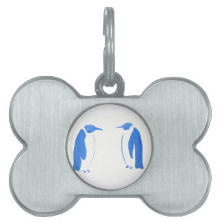 Dúo azul del pingüino placas de mascota
