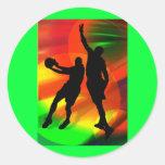 Dúo brillante de las luces y del baloncesto de la pegatinas redondas