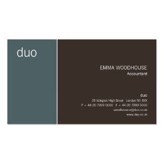 Duo Cadet Blue & Brown Business Card Templates