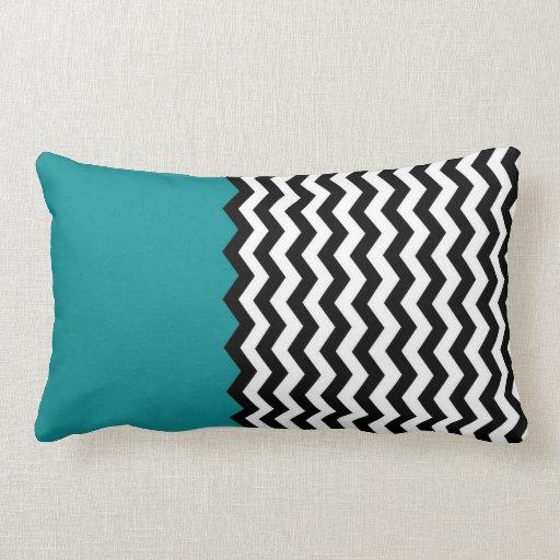 Duo Chevron Teal Large Throw Pillow Zazzle
