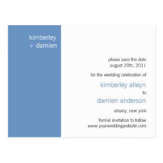 """Duo"" Cornflower Blue Save the Date Postcard"