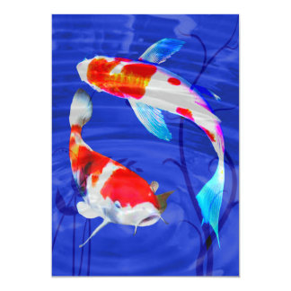 """Dúo de Kohaku en la charca azul profunda Invitación 5"""" X 7"""""""