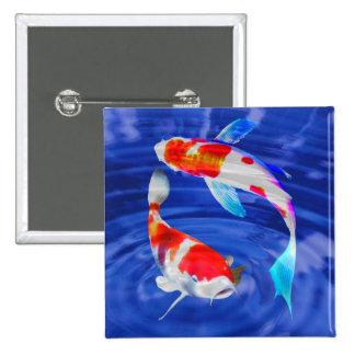 Dúo de Kohaku en la charca azul profunda Pin Cuadrado