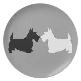 Dúo de la silueta de Terrier del escocés Platos De Comidas