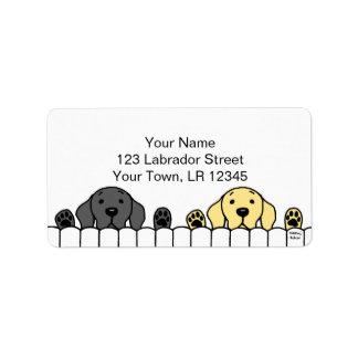 Dúo de Labrador que le mira Etiqueta De Dirección