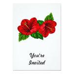 Dúo de los flores rojos del hibisco invitación 12,7 x 17,8 cm
