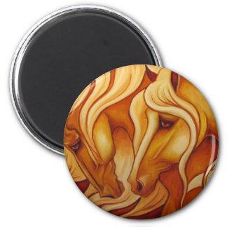Dúo de oro imán redondo 5 cm