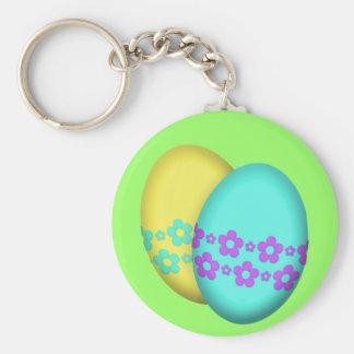 Dúo del huevo de Pascua de la flor Llavero Redondo Tipo Pin