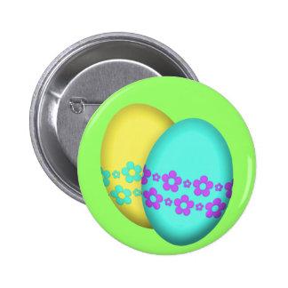 Dúo del huevo de Pascua de la flor Pin Redondo De 2 Pulgadas