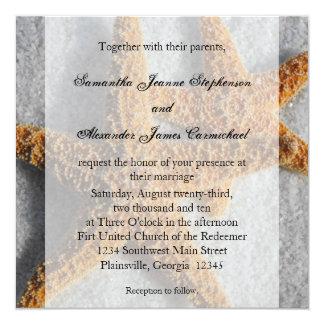 Dúo en la arena, cuadrado de las estrellas de mar invitación 13,3 cm x 13,3cm