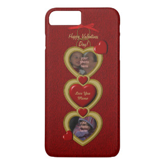 Duo Hearts Frame, Red-Gold-iPhone 7 Plus Case