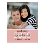 """Duo"" Light Pink Save the Date Postcard"