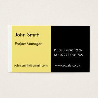 "Duo - Light Yellow & Black (2"" x 3.5"") Business Card"