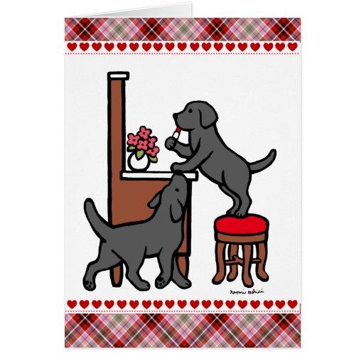 Dúo negro del perrito del laboratorio de la mamá felicitación