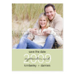 """Duo"" Pale Sea Green Save the Date Postcard"