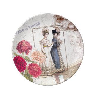 Dúo para el piano - modas hermosas del vintage de platos de cerámica
