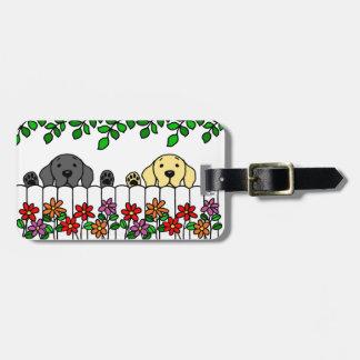 Dúo personalizado de Labrador que le mira Etiquetas De Equipaje