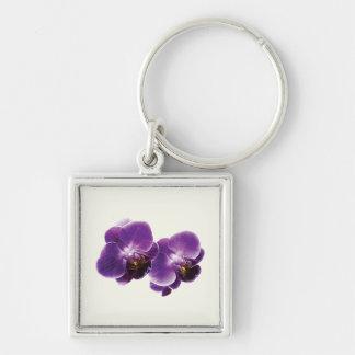 Dúo púrpura de la orquídea llavero cuadrado plateado
