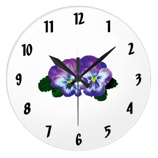 Dúo púrpura del pensamiento reloj de pared