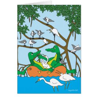 Dúo que cruza - los cocodrilos tarjeta de felicitación