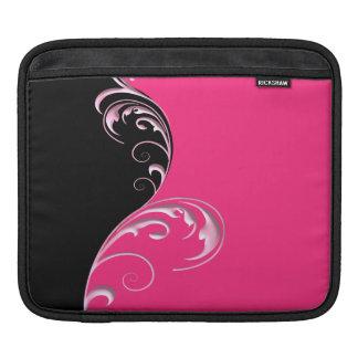 Duo Tone Flourish Pink & Black Sleeve For iPads