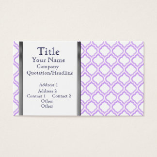 Duo-tone Moroccan Trellis (Lilac) (Monogram) Business Card