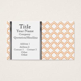 Duo-tone Moroccan Trellis (Orange) (Monogram) Business Card