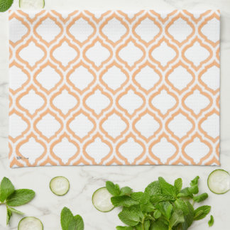 Duo-tone Moroccan Trellis (Orange) (Monogram) Kitchen Towels